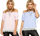 Womens Off Shoulder Gypsy Boho Top Ladies Gingham Check Lace Trim Short Sleeve