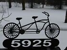 Tandem Bicycle Personalized Mailbox Topper or Wall Plaque Address Sign Metal Two