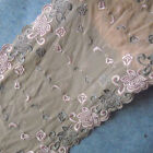 "2.5 - 3 Yards 9"" Wide Mesh Fleshcolor Lace / Embroidered Pink/Silve Flower 756"