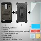 FOR LG Stylo 3 Black 3-in-1 Kinetic Hybrid Protector Cover Combo case +Glass SP