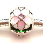 Magnolia Bloom Pale Cerise CZ 925 Sterling Silver Fit European Charm Bracelet 2