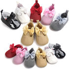 Princess Toddler Baby Girls Shoes Party Bowknot Crib Shoes PU Leather Prewalker