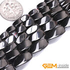 """Natural Black Magnetic Hematite Assorted Twist Beads For Jewelry Making 15"""" YB"""