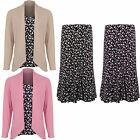 Women's Leaf Print Lined Flare Skirt Waterfall Cardi Top Long Sleeve 2 Piece