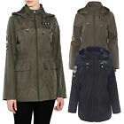 Brave Soul Womens Ravesbadge Festival Mac Military Hooded Fishtail Kagool Coat