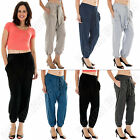 New Ladies stylish Italian Hareem Casual elasticated Trousers Size 8 10 12 14 16