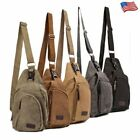 Men's Canvas Tactical Sling Chest Bag Shoulder Cross Body Travel Hiking Pack