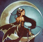 "22"" FRINGED NEEDLEPOINT WOVEN PAINTING: MOON'S SORCERESS DE LUNA"