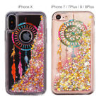 iPhone X 8 7 Plus Floating Liquid Glitter Case+Tempered Glass Screen Protector