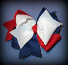 Red White Blue Hair Bow Boutique Patriotic Sail Away Nautical American USA M2M