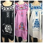 ABOVE KNEE EMBROIDERED MEXICAN PEASANT HIPPIE MINI BOHO DRESS S M L XL XXL #2