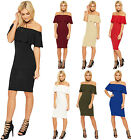 Womens Ruffle Off Shoulder Dress Ladies Bardot Sleeveless Bodycon Stretch 8-16
