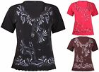 Womens Plus Size Top V Neck Glitter Print Embossed Short Sleeve Ladies T-shirt