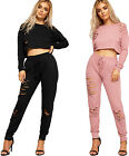 Womens Distressed Jogging Suit Ladies Crop Top Bottoms Ripped Long Sleeve Co-ord