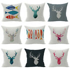 Abstract Antlers Deer Head Cushion Cover Cotton Linen Pillow Case Home Decor