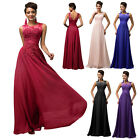 Sexy Long Chiffon Bridesmaid Formal Gown Ball Cocktail Evening  Dress Crew Neck