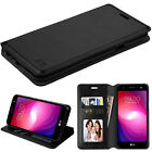 for LG X Power 2 ( US701 ) BLACK WALLET LEATHER SKIN STAND ACCESSORY COVER CASE