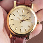 New Leather Sports Hand Wind Gift Fashion Mens Gold Mechanical Wrist Watch