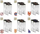 BLACK LAMINATE AND CHROME NESTING END TABLE SET WITH MLB TEAM LOGO VINYL DECALS