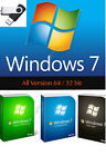 Windows 7 64/32 bit Reinstall Recovery All versions SP1 USB Flash Drive w/HD