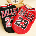 Summer Pet Dog Clothes Breathable Sports Basketball Clothes Poodle Mesh  Shirts