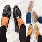 Womens Ladies Flat Creeper Chunky Sole School Work Dolly Loafers Bow Shoes Size