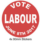 Vote Labour - 4x 90mm Circular Sticker Pack - Vinyl Decal Sticker - Free Post