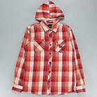 Animal Long Sleeve Hooded Flannel Shirt Red Size S,M,L.