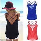 US Women Summer Sleeveless Bandage Casual Loose Blouse Tops Shirts Vest HX