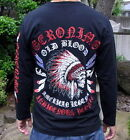 New Mens Japanese Pattern T-Shirt Long Sleeve Embroidery Tee Skull Indian Chief