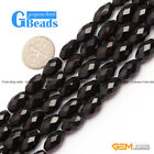 "Natural Black Onyx Agate Faceted Olivary Rice Beads For Jewelry Making 15""Strand"