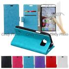 For Samsung Galaxy S6 Active G890A 2X Glass Film PU Leather Flip Case Cover New