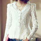 Fashion Women Summer Casual V-Neck Long Sleeve Cotton Lace T Shirt Tops Blouse
