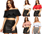 Womens Off Shoulder Tiered Crop Party Top Ladies Sleeveless Bardot New 8-14
