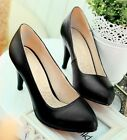 Ladies Black Real Leather High Heel Office Work Court Shoes Plus Size #226