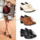 Womens Ladies Lace Up Block Mid Heel Oxford Brogue Shoes Plus Size 2011
