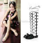 Ladies Celebs Real Leather Lace Up Tall Gladiator Sandals Boots Shoes Plus Size