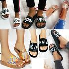 Ladies Womens Flat Sliders Love Slippers Slip On Mules Summer Sandals Shoes Size