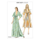 Vogue Sewing Pattern V9253 | Misses Deep-V Kimono-Style Dresses with Self Tie