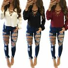 Fashion Womens Ladies Long Sleeve Shirt Casual Blouse Lace Up Loose Tops T Shirt