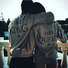 New UNISEX Hoodie KING&QUEEN Hoodie Letter Print Casual Couple Tracksuit Tops