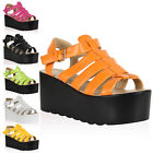 19A WOMENS FLATFORM LADIES CHUNKY PLATFORM GLADIATOR WEDGE SANDAL SHOES SIZE 3-8