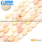 """8x10mm Natural Pink Opal Gemstone Oval Flatback Beads For Jewelry Making 15"""" GB"""