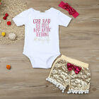 3PCS Infant Newborn Baby Girl Romper+Sequins Shorts Pants+Headband Party Outfits