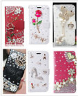 Lovely Flip Leather Bling Rhinestone Diamond Crystal Wallet Card Case Cover New