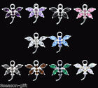 Wholesale Lots Rhinestone Dragonfly Charm Pendants mixed 20x19mm