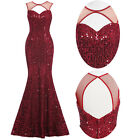 Sequins Mermaid Evening Dress Wedding Fishtail Ball Gown Pageant Party Prom ☀