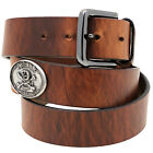 Mens 1 1/2 Hot Dipped Tan Harness Leather Belt Don't Tread On Me Conchos