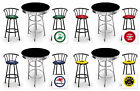 FC587 VINTAGE GAS GARAGE AUTO SHOP THEMED ROUND BAR TABLE & BLACK STOOLS SET