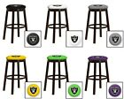 "OAKLAND RAIDERS 24"" & 28"" ESPRESSO WOOD METAL BAR MAN CAVE SHE SHED BAR STOOL"